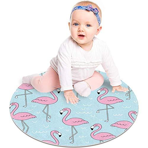 Alfombra antideslizante con diseño de flamencos rosas de animales de 59,9 cm para dormitorio de niños, habitación de bebé, sala de juegos, guardería