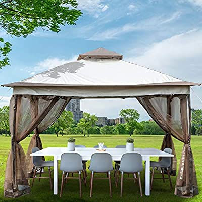 Happybuy Pop Up Gazebo 10' x 10' with Netting - Outdoor Canopy Gazebo with 4 Sandbags - Patio Gazebo with 144 Square Feet of Shade for Backyard, Outdoor, Patio and Lawn