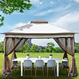 Happybuy 12x12ft Outdoor Pop-Up Canopy Gazebo Starter Kit, Equipped with Four Sandbags, Ground Spikes, Netting, Ropes, Carrying Bag - Portable Brown Tent for Backyard, Patio and Lawn, Upgraded Version