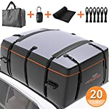 AUTMOR Rooftop Cargo Carrier, Cargo Carrier for Top of Vehicle, 20 Cubic Feet Roof Rack Cargo Carrier with Anti-Slip Mat, 8 Reinforced Straps and 6 Door Hooks Fits All Cars with/Without Rack(Black)