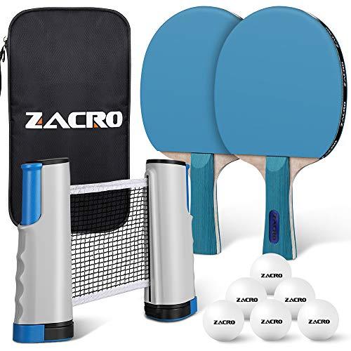 Zacro Pala de Ping Pong Profesional Set 2 Raqueta de Tenis de Mesa + Retractable Red de Mesa Tenis + 6 Pelotas