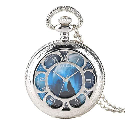 J-Love Reloj Bolsillo Cuarzo Hueco Plateado con Esfera Lobo aullador, Relojes con Colgante para...