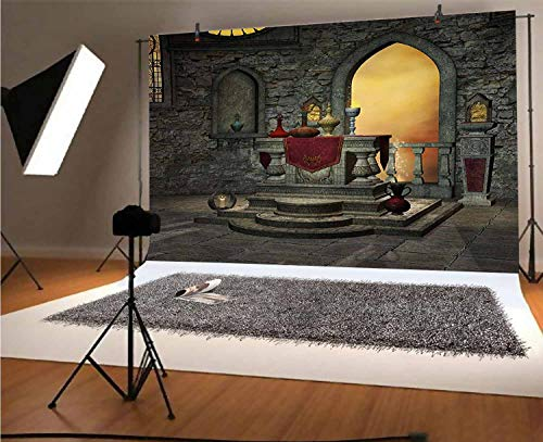 Gothic 12x10 FT Vinyl Photo Backdrops,Ancient Altar Table in Castle Baroque Era Inspired Alchemy Wizard Design Background for Child Baby Shower Photo Studio Prop Photobooth Photoshoot
