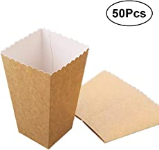 BESTOYARD 50Pcs Paper Popcorn Box Candy Popcorn Holder Containers Oil-Proof Paper Bags Snack Box for Movie Theater Dessert Wedding Party Favors
