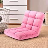 Floor Chair KingSo Floor Folding Gaming Chair with Back Support Adjustable 5-Position Cushioned Lazy Sofa, Easy Wash Nylon Bottom (Pink)