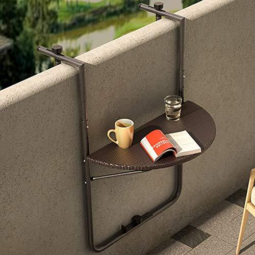 Bakaji - Mesa de barandilla para exterior, balcón, plegable, ahorra espacio, altura regulable, estructura de metal y...