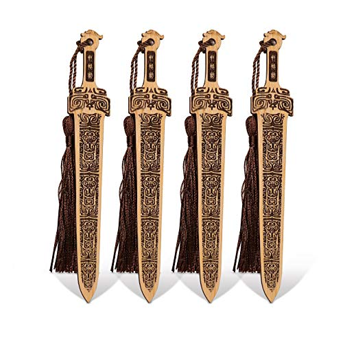 Gdpaddy Handmade Natural Bamboo Bookmark with Beautiful Tassels,Vintage Style Bookmark is A Unique Gift for Teachers, Students, Men and Women - 4Pcs (Sword)