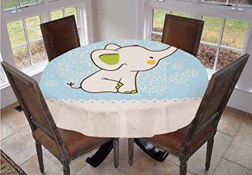 Kids Round Tablecloth,Elephant Invitation Flower Heart Cartoon Doodle Art Flower Retro Pattern Animals Themed Print Polyester Table Cloth,90 Inch,for Kitchen Dinning Tabletop Decoration