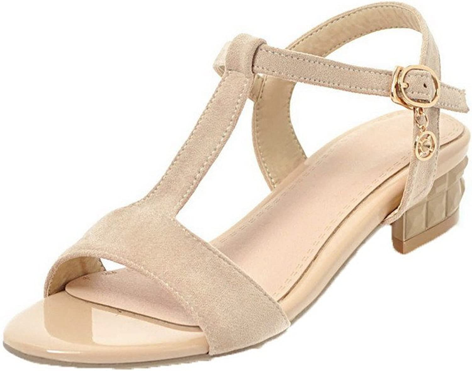 AllhqFashion Women's Buckle Low-Heels Imitated Suede Solid Open-Toe Sandals