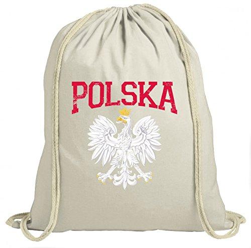 Shirt Happenz Polen Wappen Premium Turnbeutel | Polen | Republik Polen | Warschau | Unisex | Gymbag, Farbe:Natur (Gymbeutel);Größe:37cm x 46 cm