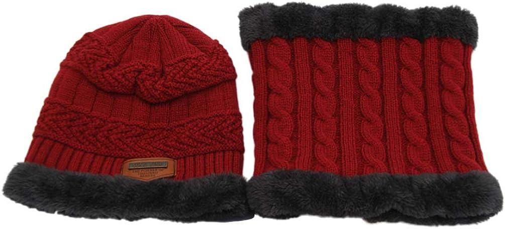 IMIKEYA Winter Kids Hat Scarf Set Knit Plush Beanie Hat Loop Scarf for Toddler