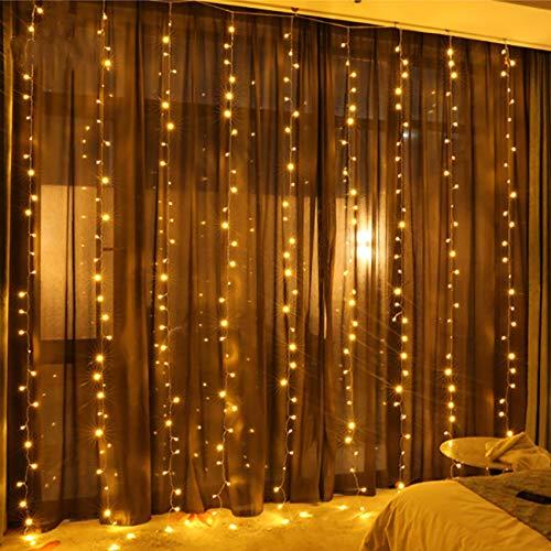 BJY969 - Cortina de luces de hadas, 3 m x 3 m, 8 modos, enchufe USB en la ventana, control remoto impermeable de alambre de cobre para dormitorio, hogar, jardín, decoración de pared (blanco frío)