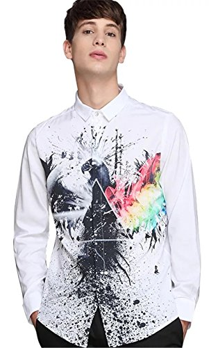 Pizoff Mens Hipster Long Sleeve Luxury Design White Sleeve Colorful Eagle Splatter 3D Print Button Down Dress Shirt Y1707-9-S