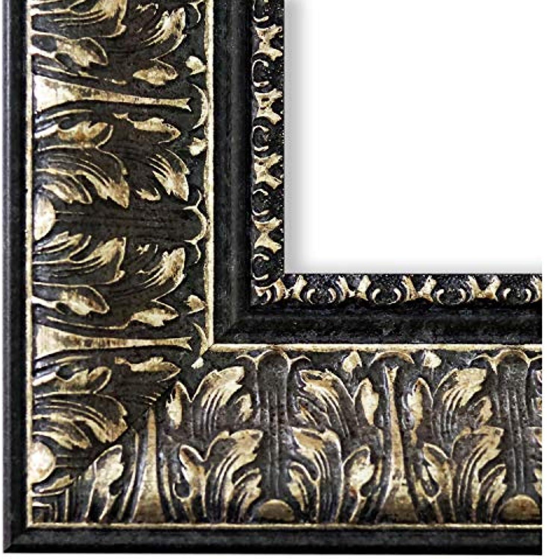 Online Galerie BinGold Bilderrahmen Schwarz Silber 60x90-60 x 90 cm - Antik, Barock - Alle Gren - handgefertigt in Deutschland - LR - Ancona 7,5