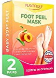 Foot Peel Mask - Peach Feet Peeling Mask 2 Pack - Dermatologically Tested, Cracked Heel Repair, Dead Skin Remover for Baby Soft Feet - Exfoliating Peel Natural Treatment by Plantifique