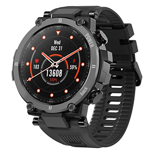 """KOSPET Raptor Smart Watch for Men, 1.3"""" Outdoor Smartwatch with 20 Sports Modes, Ultra Light Fitness Tracker with Rugged Body, 30 Days Standby, IP68 Waterproof, Compatible with iOS Android, Black"""