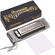 Harmonica for Kids, Toddlers, and Adults, Musical Instrument Toys for Beginners with 10 Holes and 20 Notes, Stainless Steel, Diatonic, Key of C Mouth Organ Set with Storage Bag for Boys and Girls