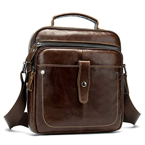 Bolso bandolera pequeño para hombre, bandolera para tableta, de cuero auténtico, bolso de hombro pequeño, casual, vertical, gran capacidad, bolso lateral, bandolera para trabajo