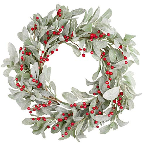Skrantun 18 Inch Christmas Wreath Green Leaves Wreath Berry Wreath for Front Door Christmas Decorations with Glittering Ornament