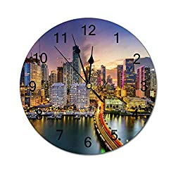 Non-Ticking Silent Wall Clock 12'' Biscayne Bay Miami Florida City Bridge Battery Operated, Non-Ticking, Analog Quartz, for Living Room, Office, Kitchen