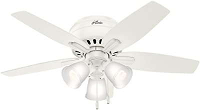 "Hunter 51077 Newsome Indoor Low Profile Ceiling Fan with LED Light and Pull Chain Control, 42"", Fresh White"