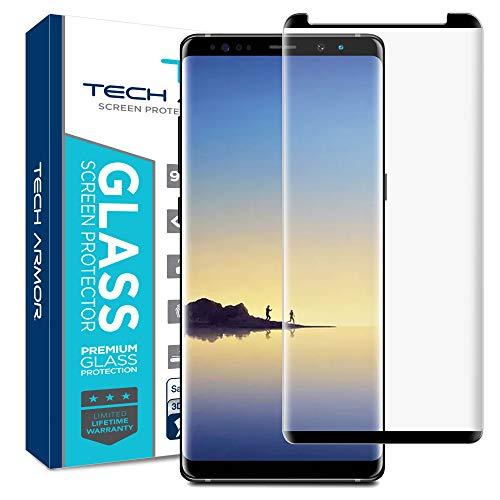 Tech Armor - Displayschutzfolie aus abgerundetem 3D-Panzerglas für Samsung Galaxy Note 8 - Hüllen-kompatibel Schwarz - 1 Stück