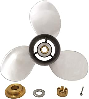 High Polished Stainless Steel 3 Blade Outboard Propeller(with All Kits) for Honda 8-20HP
