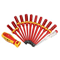 KKMOON 13pcs 1000V Insulated Screwdrivers Hand Tools Set + Magnetic Slotted Phillips Pozidriv Torx Bits Electrician Tools