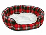 Petface - Cama Ovalada para Perro, diseño de Cuadros Escoceses, Color Rojo