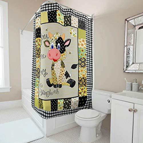 Sonnenblume Kuh Duschvorhang Anti-Schimmel Wasserdicht Waschbar Stoff Duschvorhänge Polyester Textil Badewannevorhänge mit Duschvorhängeringen für Badewanne White 91x180cm