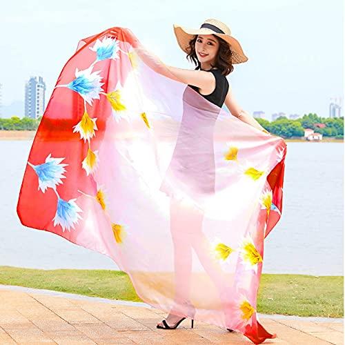 Quzuer Bufandas de Seda de Las señoras, mantón de la Bufanda de la Gasa, mantón Suave Largo Impreso de Las Mujeres (N)