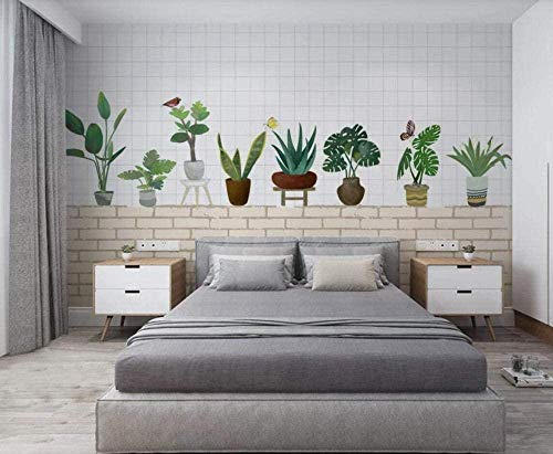 Mural Wallpaper Photo Poster Wall Decoration Brick Wall with Green Potted Plants Background Wall Background Painting Panorama 3D Wall Mural Decor 140 * 200cm