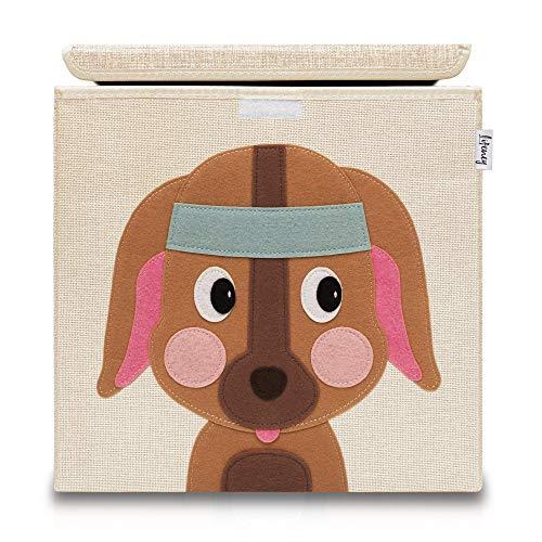 Lifeney Aufbewahrungsbox Kinder mit Deckel I Niedliche Spielzeugkiste I Aufbewahrungsboxen für Kinderzimmer I Faltbox für Spielzeugaufbewahrung I Aufbewahrungskorb Kinder (Beige Hund)