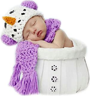 Fashion Cute Unisex Newborn Boy Girl Baby Outfits Photography Props Snowman Hat with Scarf Sets