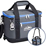 Outrav Blue Insulated Cooler Bag – 6L Collapsible Thermal Lunch Bag with Bottle Opener, 16 Can Capacity – Perfect for Camping, Picnics and Travel - Handles and Removable Shoulder Strap