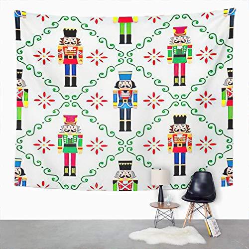 YJIANG Tapiz de cascanueces de Navidad, figura de soldado festivo, decocin para el hogar, dormitorio, manta ancha para colgar en la pared para sala de estar, dormitorio, 203 x 152 cm