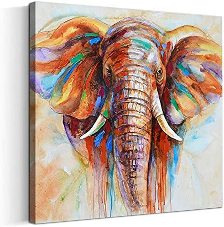Artinme Original Design Large Contemporary Abstract Colourful Elephant Painting on Canvas Print product image