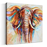 Artinme Original Design Large Contemporary Abstract Colourful Elephant Painting on Canvas Print Wall Art Picture for Living Room Bedroom Wall Decor (32 x 32 inch, Framed)