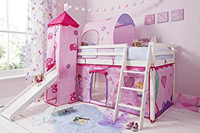 Noa and Nani - Midsleeper Cabin Bed with Slide and Fairies Tent, Tunnel and Tower - (Whitewashed Pine)