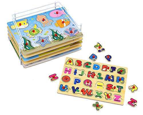 Etna Wood Peg 6Puzzle Set with Wire Storage Rack  ABC Numbers Shapes Vehicles and Animals Educational Puzzles for Kids 3 and Up