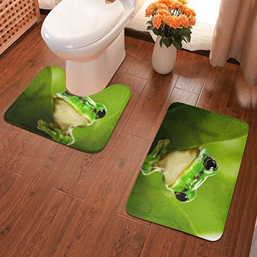 Leaf Frog Soft Flannel Bathroom Rugs Non Slip 2-Piece Bath Mat Set Super Absorbent Bath Rug + U-Shaped Contour Toilet Mat