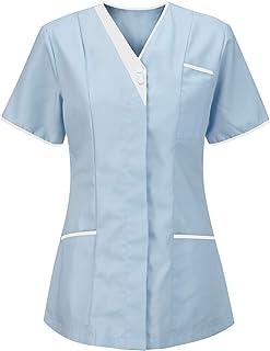 V Neck Style Nurses Tunics Healthcare Hospital Medical Dentists Work Wear Carers Vets Top Uniforms (Sky Blue/White, 14)
