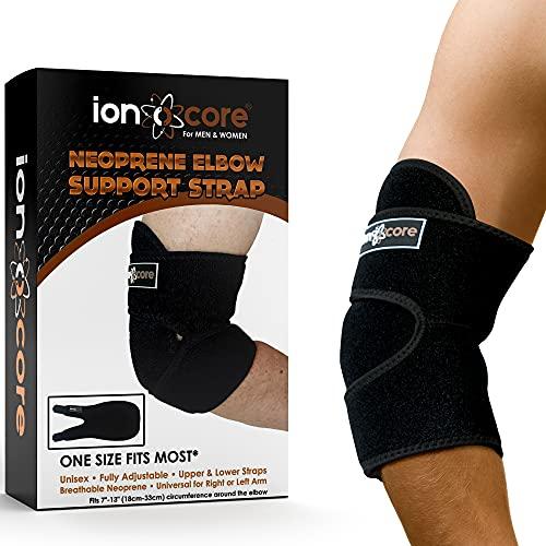 Ionocore® Ellenbogenbandage aus Neopren – Ellbogenschoner für Tennisarm, Golferarm, Gewichtheber – Ellbogenstütze – Verstellbarer Ellbogenschutz für Männer & Frauen – Passt am linken & rechten Arm
