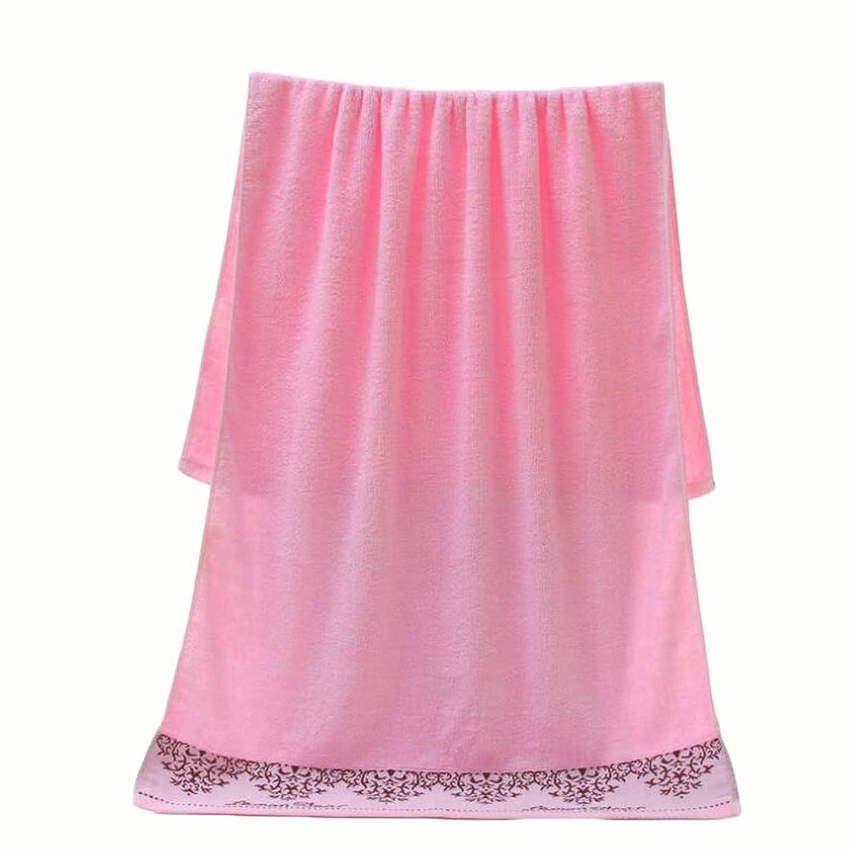 サワートランペット暴動CXUNKK ホームコットン厚手ジャガード吸収性ソフトバスタオル (Color : Pink)