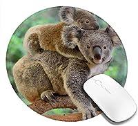 母親のコアラと赤ちゃんの背中防水性と耐摩耗性のあるノンスリップラウンドラバースライドパッド、ゲーミングマウスパッド20cm