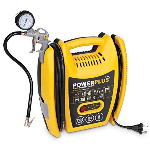 Varo POWX1705 - Compressore portatile, 1100 Watt, PS 1,5, 8 bar max, con accessori