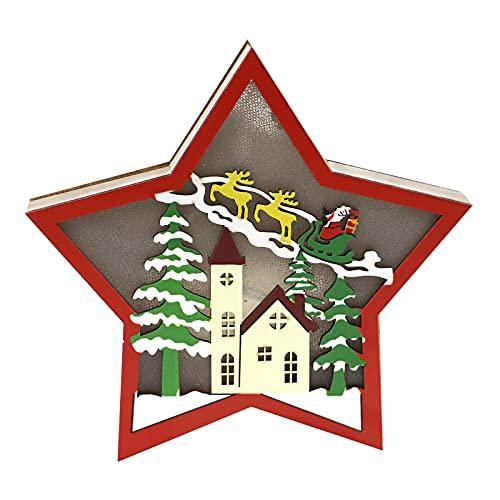 Home Hanging Ornamenti Carino Stile Country Legno Natale Cinque punte Stella con LED Luci per Camera Da Letto Soggiorno Ufficio