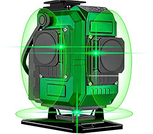 Nivel láser, Careslong 12 lineas Nivel Láser Verde autonivelantes 3 * 360 líneas cruzadas horizontales y verticales Línea de rayo láser verde IP54 nivelación impermeable y alineación menos de 5nw