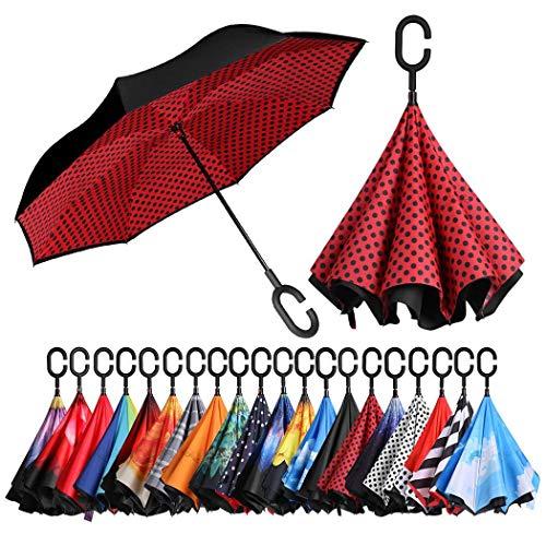 Eono by Amazon - Inverted Stockschirme, Winddicht Regenschirm, Reverse Stockschirme mit C Griff, Selbst Stehend, Double Layer, Schützen vor Sturm Wind, Regen und UV-Strahlung, Roter Punkt