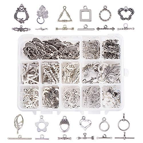 PH PandaHall 96 Sets 12 Style Antique Silver Toggle TBar Clasps Tibetan Style Alloy Jewelry Clasps for Necklace, Bracelet, Earring Making (Flower, Butterfly, Leaf, Heart, Triangle)
